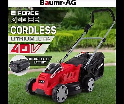 NEW Baumr-AG 40V Cordless Lawn Mower Electric Lawnmower Lithium Battery Powered