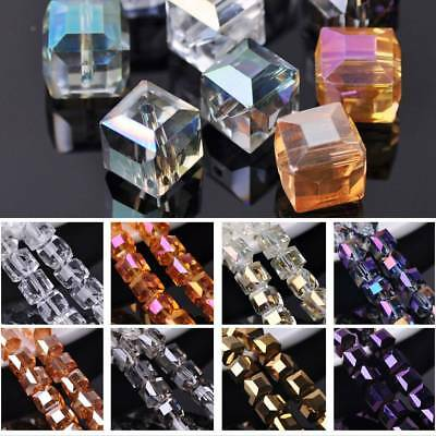 5pcs 14mm Big Cube Square Crystal Glass Faceted DIY Findings Loose Spacer Beads