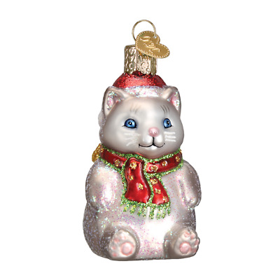 """Winter Kitty"" (12447)X Old World Christmas Glass Ornament w/OWC Box"