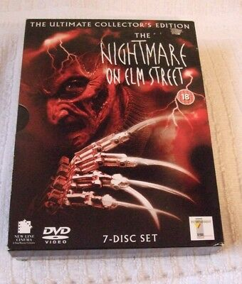 Dvd Boxed - Disk Set Of Seven  ** The Nightmare On Elm Street ** Dvd, 2004, Vgc