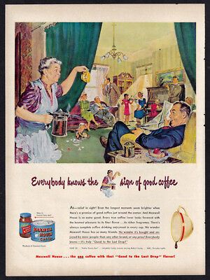 Vintage 1949 MAXWELL HOUSE COFFEE Ad - Good to the Last Drop