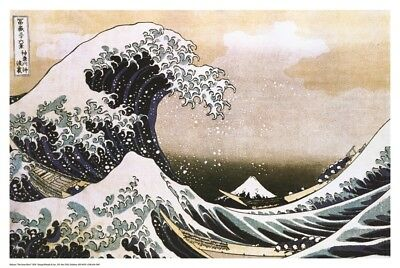 THE GREAT WAVE by Katsushika Hokusai ART PRINT, Size 24x36