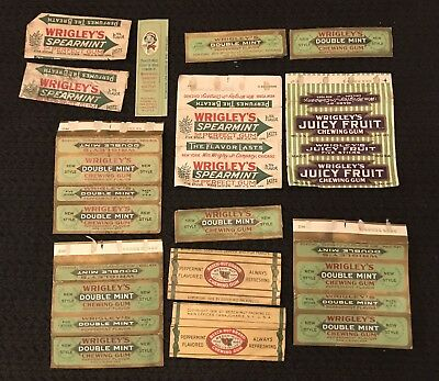 Mixed Lot Vintage Wrigley's & Beech Nut Chewing Gum Wrappers