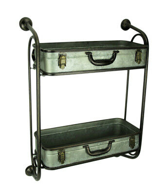 Rustic Metal Pipes and Suitcases Decorative Wall Shelf