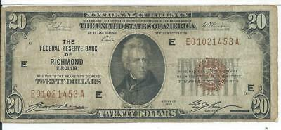 $20 Richmond VA 1929 National Currency Federal Reserve Bank Note E # E01021453A