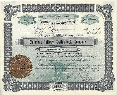 Stk-Blanchard Railway Switch-lock Co. 1904 Boston, MA See all images
