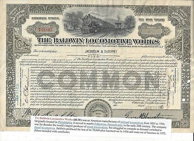 Stk-Baldwin Locomotive Works 1930 Less than 100 sh Common Olive