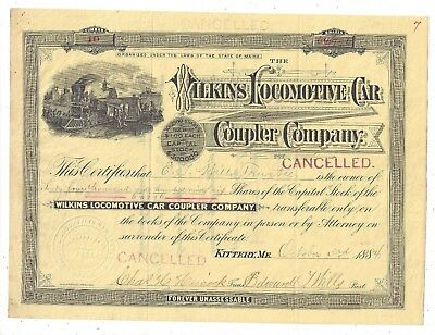 Stk-Wilkins Locomotive Car Coupler Co. 1884 Issued for 64,996 shares #10