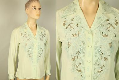 Vtg Peony Mint Green Hand Cut Out Embroidered Lace Silk Shirt Top Blouse 34