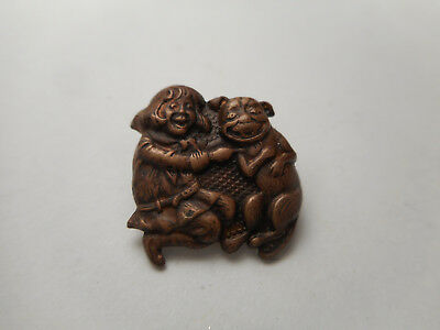 Buster Brown and his DOG Tige Brass Vintage Button 5/8""