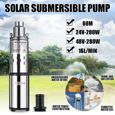 Solar Water Pump 24V/48V 200/280W Quiet Submersible Powered Pump Bore Hole Pond