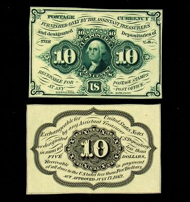 2x FR. 1243 SP 10 Cent US Fractional Currency Specimen - Proof OBV & REV