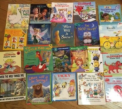 Lot of 21 Picture Kids Story Books Mix Disney Clifford Scholastic