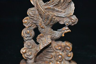 big Japanese Netsuke Boxwood Collectible Handwork Phoenix Old Antique Statue