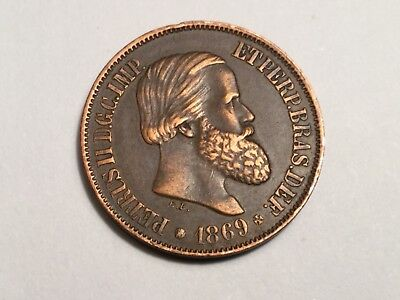 BRAZIL 1869 20 Reis coin very nice condition