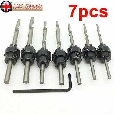 22pcs Durable Countersink Drill Bits Set Tapered Stop Collar Wood Pilot Hole
