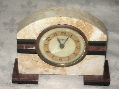 A Vintage Small Marble Art Deco Mantle Clock for Repairs or Spares