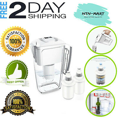 Large Water Filter Pitcher with 2x 60-Day Filters Water Purifier 10 Cup 2.5 L