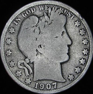 1907-O Good+ Details Dinged Barber Silver Half Dollar