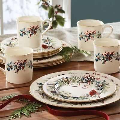 Winter Greetings 12pc set Service for 4  Lenox China cardinal bird place setting