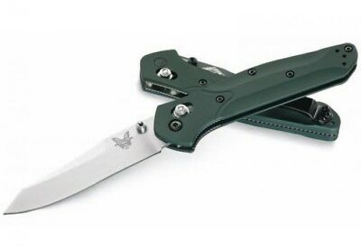 Benchmade 940 Plain Satin Blade S30V Osborne Green Aluminum Handle Knife