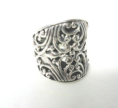 NEW Fleur De Lis STERLING SILVER Recessed Filigree Ring SU 925 Size 7 Unisex NIB