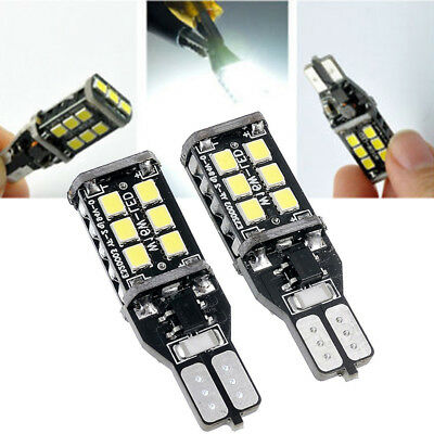 2x Pure White Car CANBUS W16W T15 15SMD 2835 LED Backup Reverse Light Lamp Bulbs