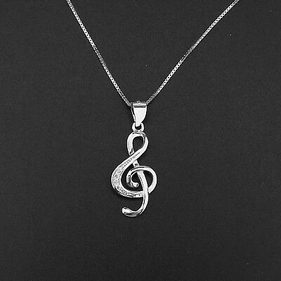 Treble Clef Music Note Pendant Necklaces S925 Sterling Silver Lady Jewellery