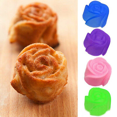 10 Pcs Silicone Rose Muffin Cookie Cup Cake Baking Mold Chocolate Maker Mould