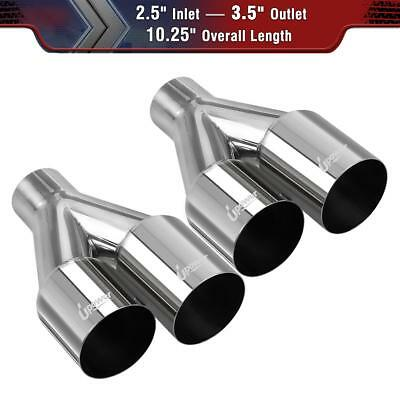 """2X Dual Staggered Exhaust Tip Single Layer Straight Cut 2.5""""ID 3.5OD"""" 10.25""""Long"""
