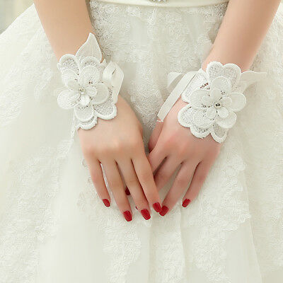 Wedding Gloves Wrist Short Finger chiffon Ivory Bridal Evening Dress Fashion