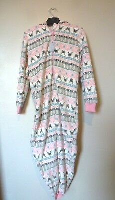 Matalan Girls Fair Isle Reindeer All In One Onzie Age 10 Years BNWT Pink/Grey