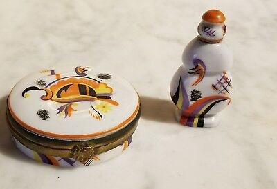 Antique Art Deco Made Germany Porcelain Powder Compact & Perfume Bottle