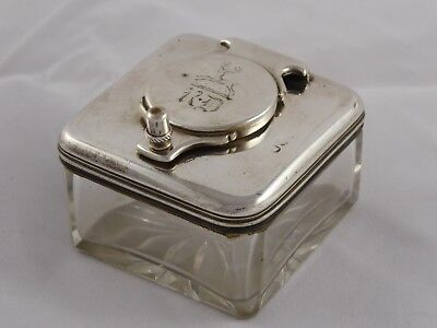George Iii Antique Solid Sterling Silver & Glass Travelling Ink Well 1817