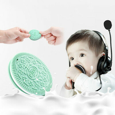 Baby Kids Food Grade Silicone Cookie Teether Teething Teeth Necklace Massage Toy