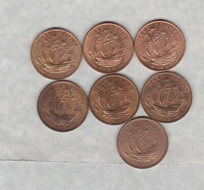 7 George Vi & Elizabeth Ii Bronze Halfpennies 1938 To 1967 In High Grade