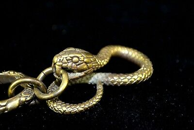 Antique Rare Collectible Big Old Copper Handwork amulet Snake key chain pendant