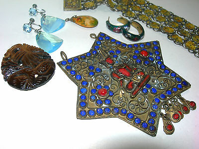 Vintage Art Deco Antique Estate Oriental Asian Old Jewelry Lot Bracelet Enamel