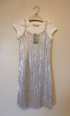 Matalan Girls Cas Favourites Crinkle Dress & Top Age 3 Years BNWT Silver/White
