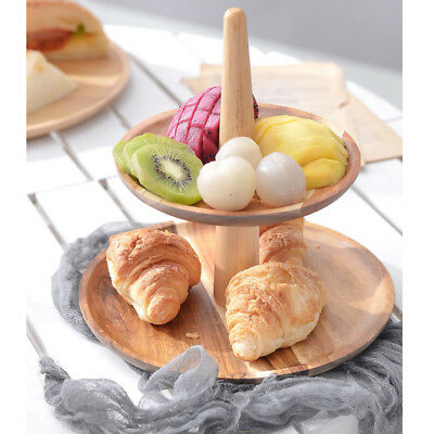 Retro 2/3Tier Wooden Cheese Dish Salad Plate Cake Cupcake Stand Serving Tray
