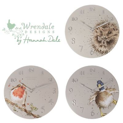 Illustrated Wall Clocks in Soft Grey by Wrendale | Robin, Duck or Hedgehog