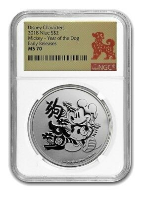2018 Niue NGC MS70 Early Releases Mickey Mouse 1oz Silver Year of the Dog (b133)