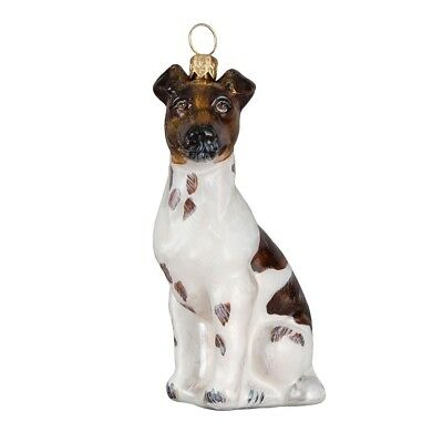 Smooth Fox Terrier Sitting Dog Polish Blown Glass Christmas Ornament