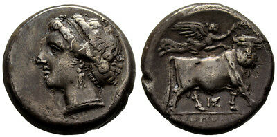 FORVM Ch VF Classical Fine Art! Neapolis Italy 275-250 BC Nymph/ Man-Faced Bull