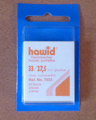 HAWID STAMP MOUNTS CLEAR Pack of 50 Individual 33mm x 27.5mm - Ref. No. 7033