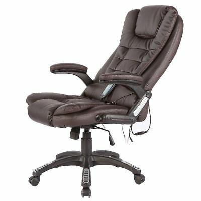 Brown Office Computer Faux Leather Swivel Reclining Massage Heat Relaxing Chair