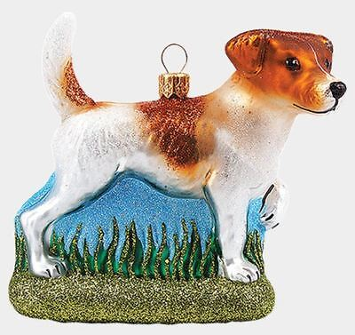 Jack Russell Terrier Dog Polish Mouth Blown Glass Christmas Ornament Decoration