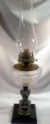 Antique French Oil Lamp with Cast Metal Bust of Eugenie, Original Brass Mech.
