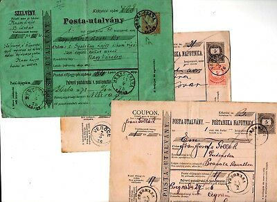 Hungary 1875/76 x 3 Postal Coupons