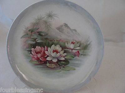 """Vtg. 8 1/2"""" Imperial China Sandwich Plate-Asian/water Lillies-Iridescent Border"""